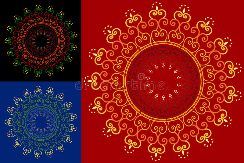 Abstract Henna Blocks Background Stock Photo