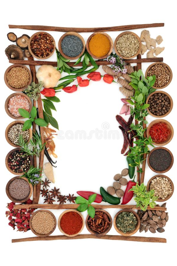 Abstract herb and spice border. With fresh and dried herbs and spices with cinnamon sticks creating a frame On white background, top view royalty free stock photo