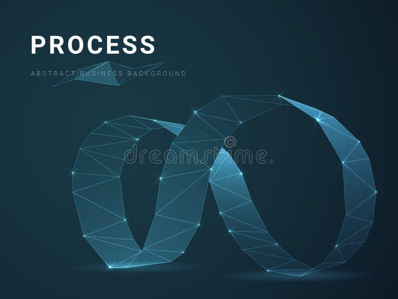 Abstract het bedrijfs achtergrond vector afschilderen proces met sterren en lijnen in vorm van een oneindigheidssymbool op blauwe stock illustratie