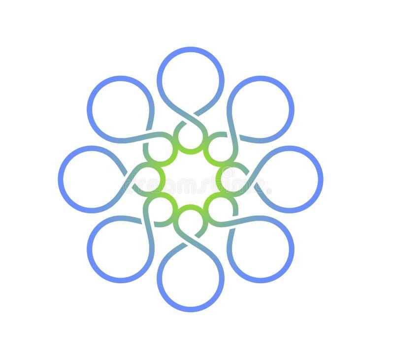 Abstract het embleemmalplaatje van de bloemvorm Kleurrijke gevormde 8, gestalte gegeven oneindigheid, gebied vectorontwerp royalty-vrije illustratie