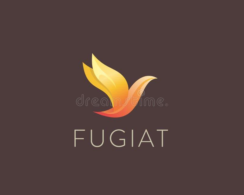 Abstract het embleemontwerp van de kleurenvogel De vrijheidsvector van de premieduif logotype vector illustratie