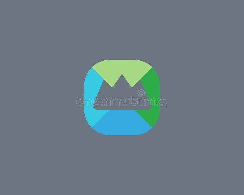 Abstract het embleemontwerp van de topberg Hoogste stichtings creatief symbool Universeel reis vectorpictogram Het dak zet kampte royalty-vrije illustratie