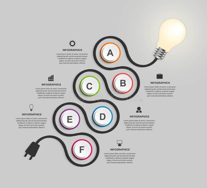 Abstract het ontwerpmalplaatje van technologieinfographics stock illustratie