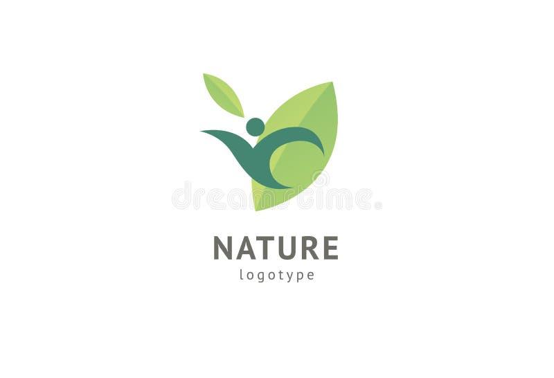 Abstract het pictogram vectorontwerp van het aardembleem Gezond ecovoedsel, ecologie, kuuroord, dieet, yoga, het vectorembleem va vector illustratie