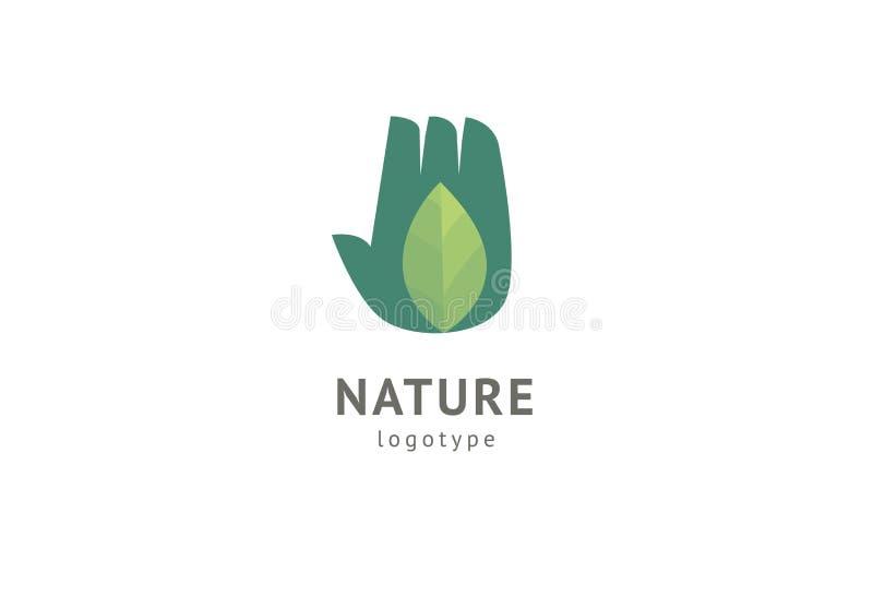 Abstract het pictogram vectorontwerp van het aardembleem Gezond ecovoedsel, ecologie, kuuroord, dieet, yoga, het vectorembleem va royalty-vrije illustratie
