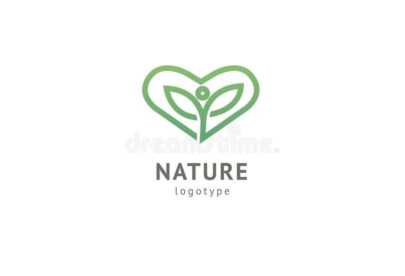 Abstract het pictogram vectorontwerp van het aardembleem Gezond ecovoedsel, ecologie, kuuroord, dieet, yoga, het vectorembleem va stock illustratie