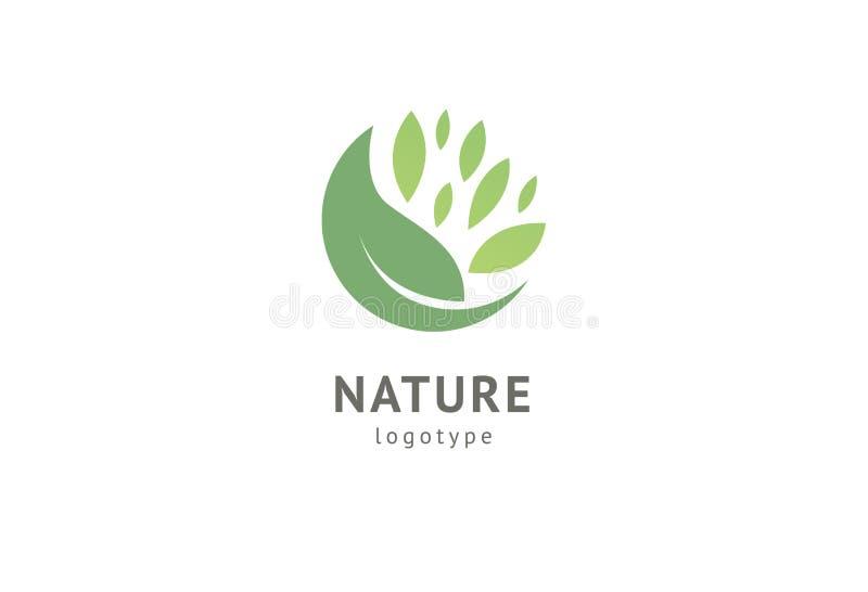 Abstract het pictogram vectorontwerp van het aardembleem Gezond ecovoedsel, ecologie, kuuroord, zaken, dieet, yoga, de vector van stock illustratie