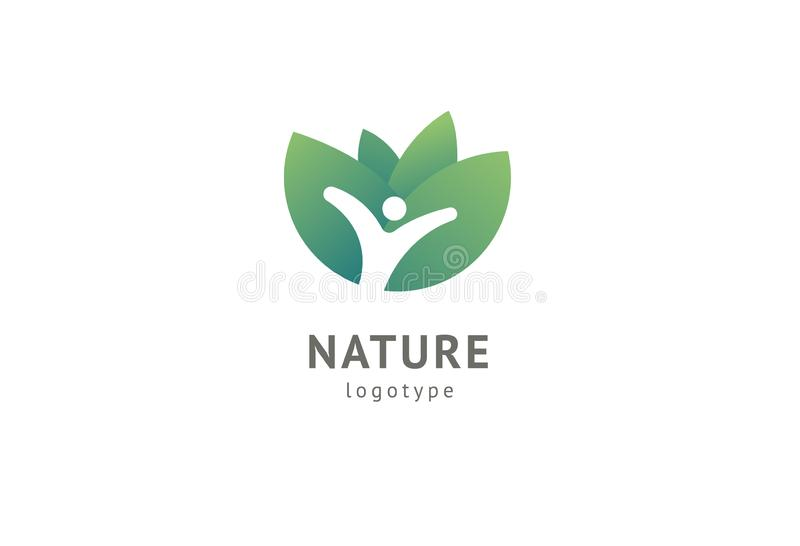 Abstract het pictogramontwerp van het aardembleem Gezond ecovoedsel, ecologie, kuuroord, dieet, yoga, het embleem van de Milieuda vector illustratie