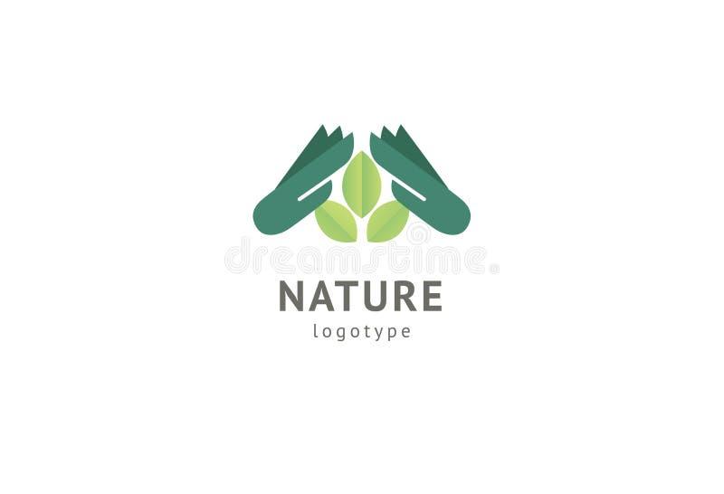 Abstract het pictogramontwerp van het aardembleem Gezond ecovoedsel, ecologie, kuuroord, dieet, yoga, het embleem van de Milieuda royalty-vrije illustratie