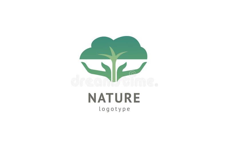Abstract het pictogramontwerp van het aardembleem Gezond ecovoedsel, ecologie, kuuroord, dieet, yoga, het embleem van de Milieuda stock illustratie