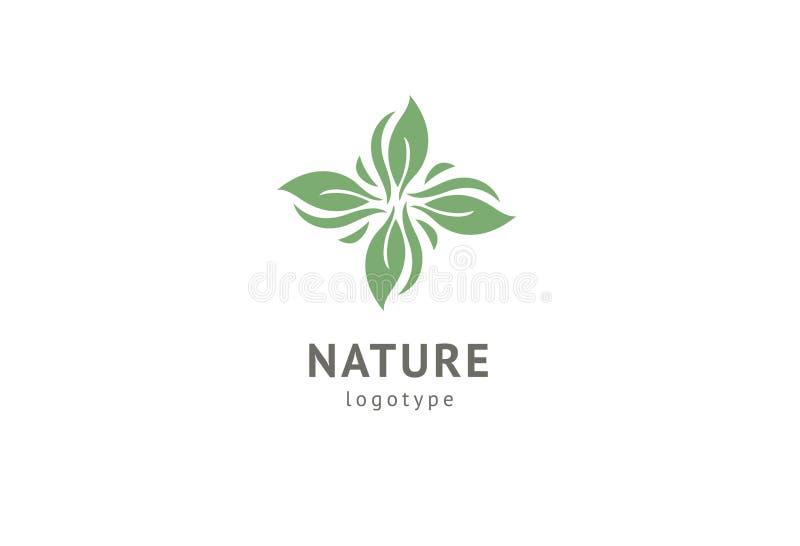 Abstract het pictogramontwerp van het aardembleem Gezond ecovoedsel, ecologie, kuuroord, zaken, dieet, yoga, het embleem van de M royalty-vrije illustratie