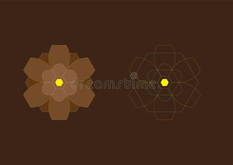 Abstract Background Hexagon Brown Flowers 9 stock image