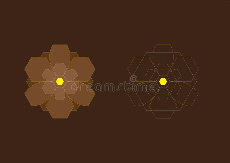 Abstract Background Hexagon Brown Flowers 11 stock image