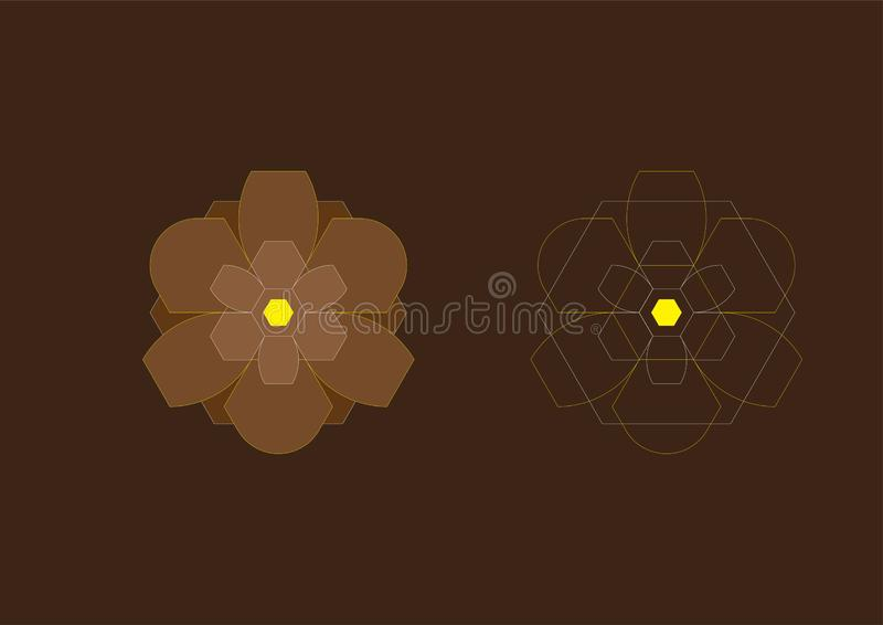 Abstract Background Hexagon Brown Flowers 15 stock image