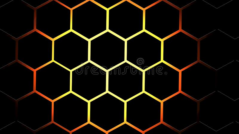 Abstract hexagon black & fire background. 3d effects stock illustration