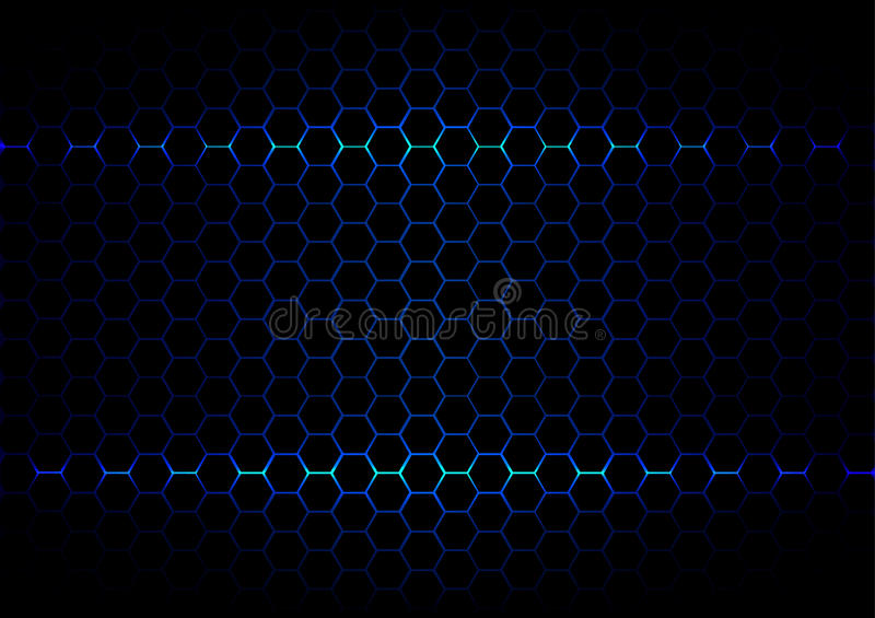Abstract hexagon blue ligth technology on black color backgroun. Vector hexagon blue ligth technology on black color background vector illustration