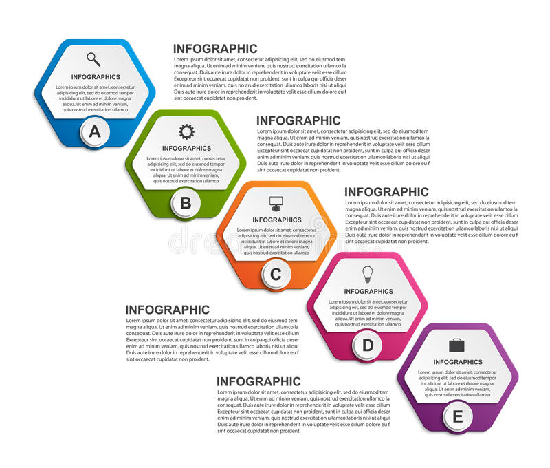Abstract hexagon business options infographics template. Vector illustration stock illustration