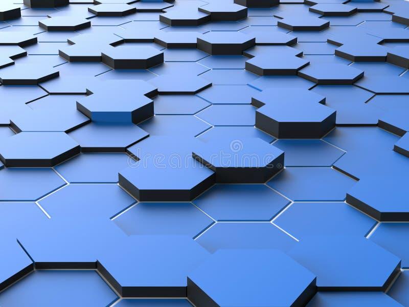 Abstract Hexagon Digitaal Blauw stock fotografie