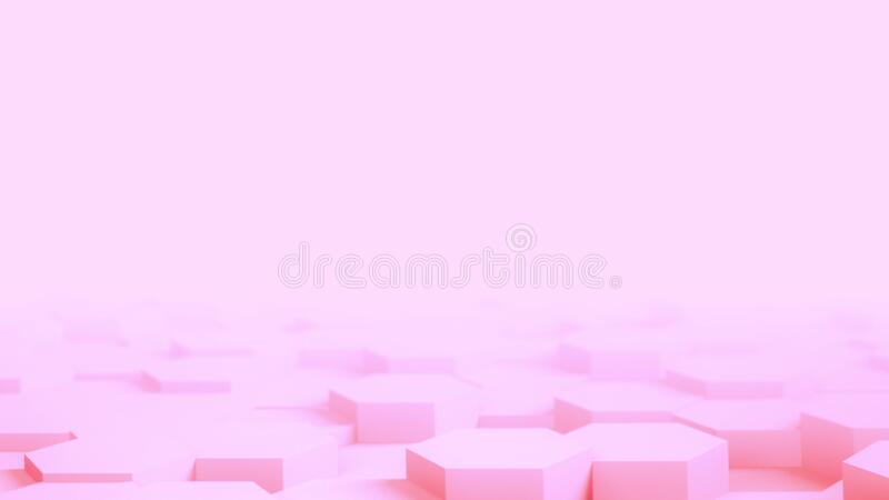 Abstract pink Hexagon Geometric desktop Surface Smooth Move light bright clean minimal hexagonal grid model, random royalty free stock image
