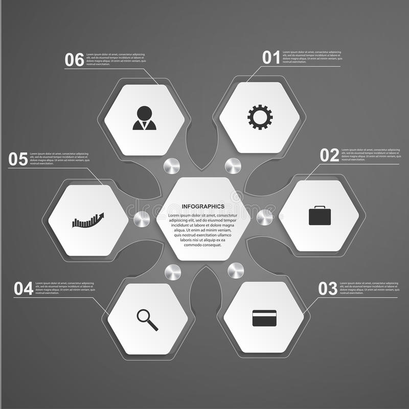 Abstract hexagon glass infographics template. Design element. royalty free illustration