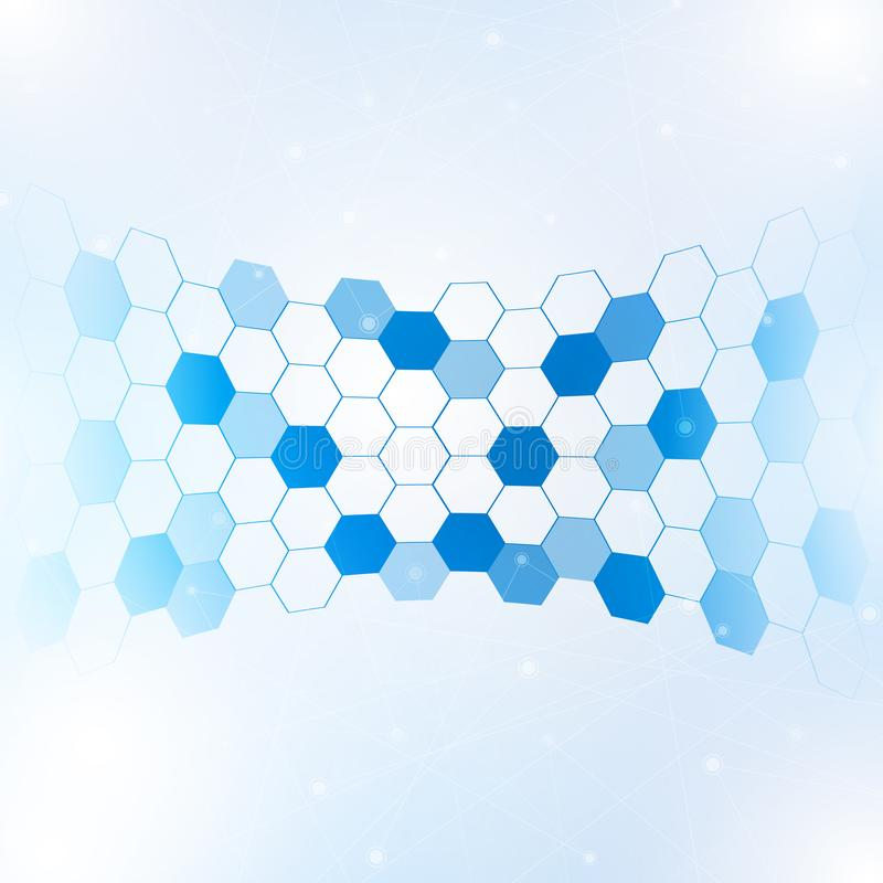 Abstract hexagon with lines and points background royalty free illustration