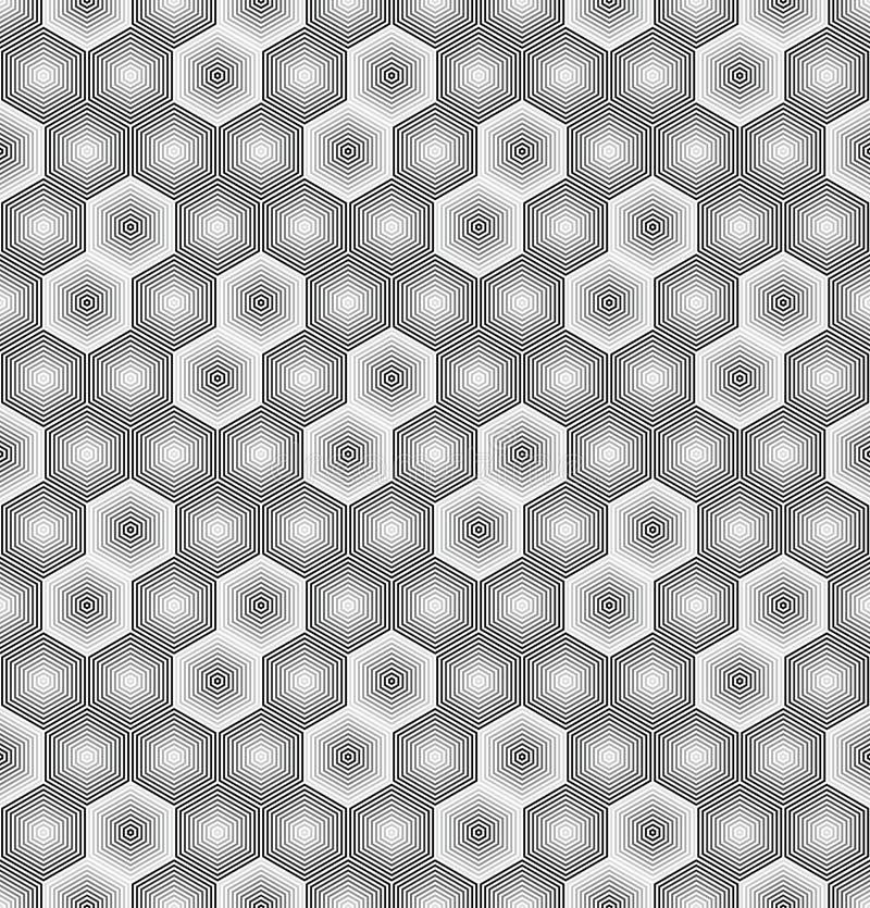 Abstract hexagon naadloos patroon van gestreepte elementen Textuur van net, rooster stock illustratie