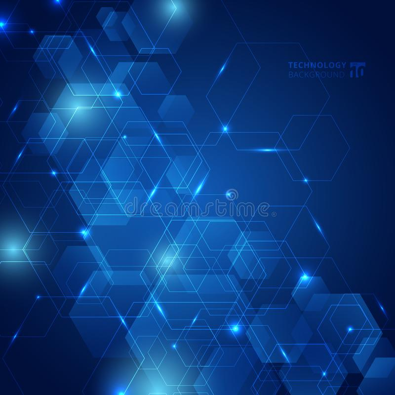 Abstract hexagon pattern with laser light on dark blue background technology futuristic communication concept innovation royalty free illustration