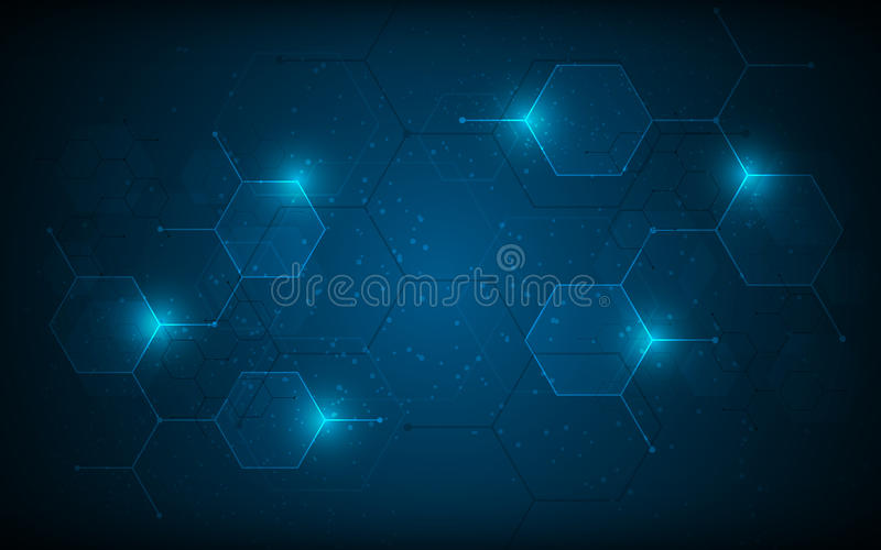 Abstract hexagon pattern molecular sci fi scientific design tech innovation concept background. Eps 10 vector