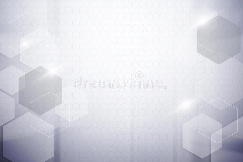 Abstract hexagon silver colour background stock image