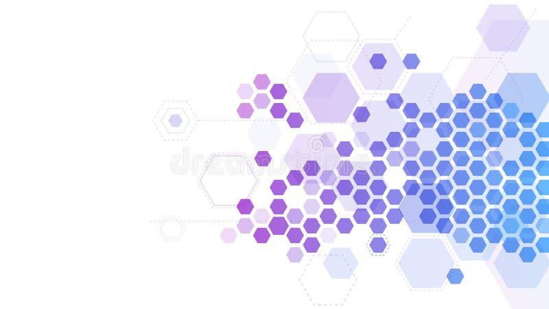Abstract hexagonaal moleculair net Geneeskundeonderzoek, de structuur van de chemiemolecule en 3d vectorachtergrond van het hexui royalty-vrije illustratie