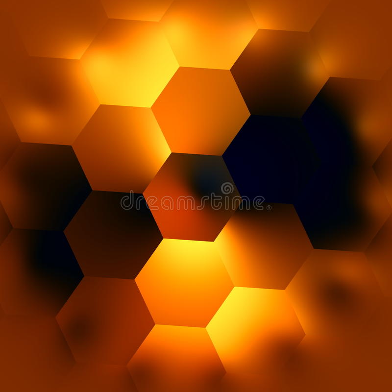 Abstract Hexagonal Background. Glowing Light Effect. Beautiful Modern Backgrounds. Soft Hexagon Mosaic. Creative Black Backdrop. royalty free illustration