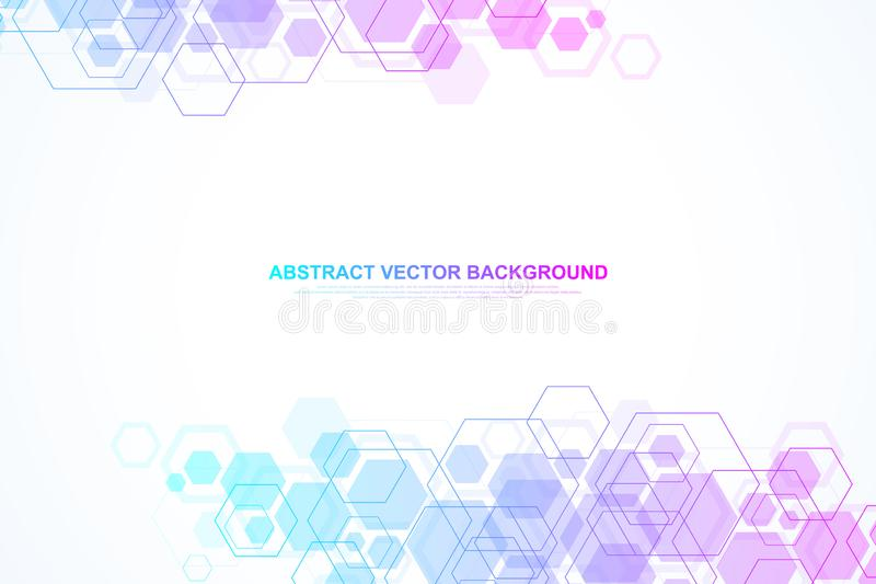 Abstract hexagonal background. Hexagonal molecular structures. Futuristic technology background in science style vector illustration