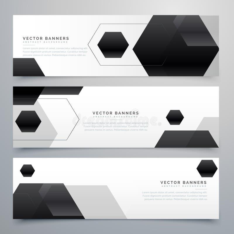 Abstract hexagonal black header banners background vector illustration