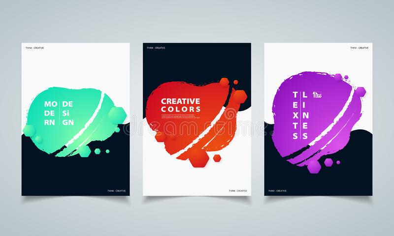 Abstract hexagonal colorful fluid geometric shape banners brochure. illustration vector eps10 royalty free illustration