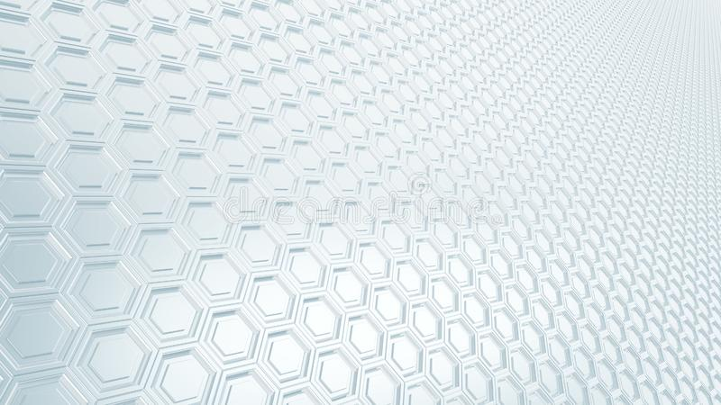 Abstract hexagonal grid 16:9 metal background with blurred reflections royalty free illustration