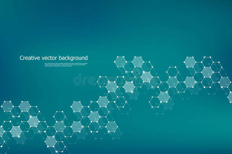 Abstract hexagonal molecule background, genetic and chemical compounds, scientific or technological concept vector. Abstract hexagonal molecule background vector illustration
