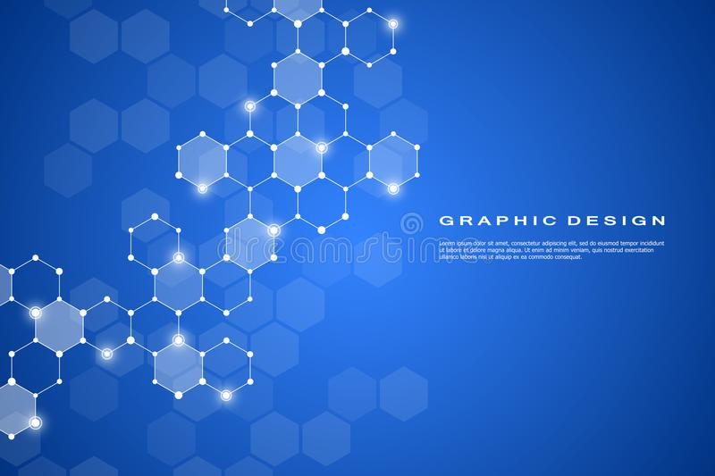 Abstract hexagonal molecule background, genetic and chemical compounds system. Geometric graphics and connected lines stock illustration