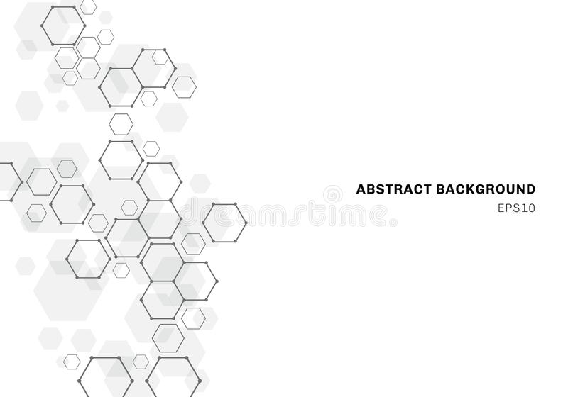 Abstract hexagonal molecule structure of neurons system. Digital technology background. Future geometric template stock illustration