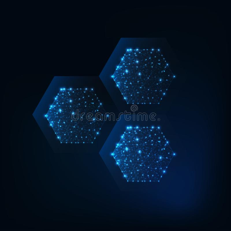 Abstract hexagonal structure molecule made of glowing lines, stars, dots, low polygonal shapes. stock illustration