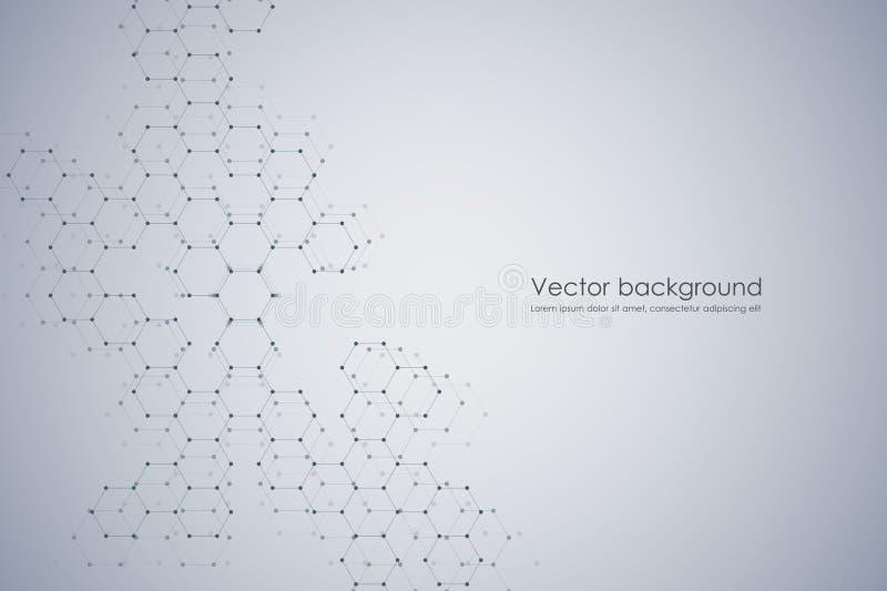 Abstract hexagonale moleculesamenstellingensysteem als achtergrond, genetische en chemische Geometrische grafiek en verbonden lij stock illustratie