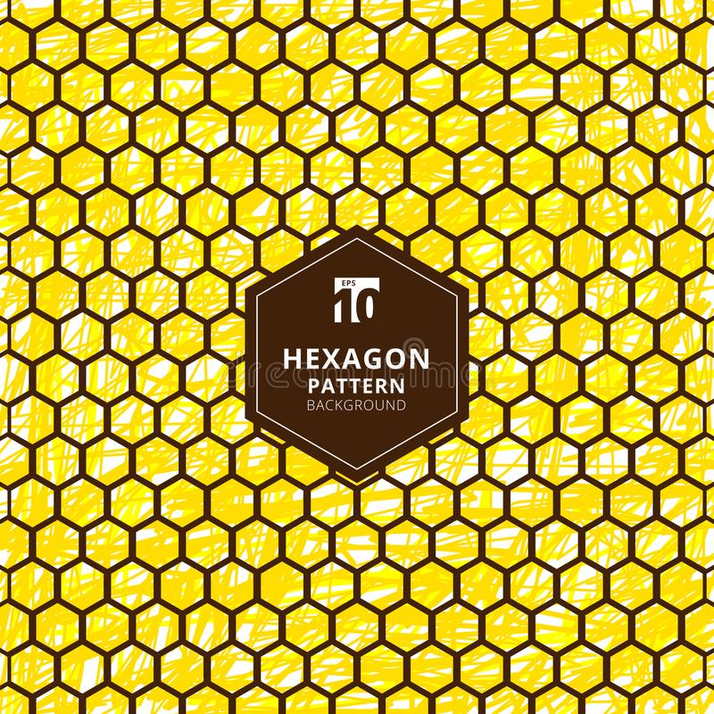 Abstract hexagons pattern on brush hand draw yellow background. vector illustration