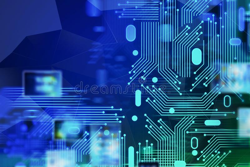 Abstract hi tech background circuits and interface vector illustration