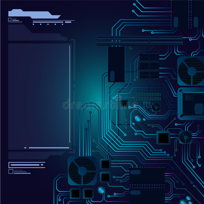 Abstract hi-tech hardware background. Hardware motherboard illustration in vector format. Detailed wires, fans, memories etc. And finally the text field included royalty free illustration