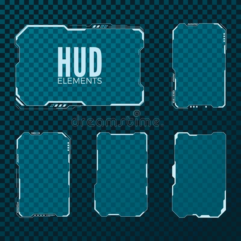 Abstract hi tech sci fi futuristic template design layout. HUD element set. Vector illustration. Isolated on transparent background royalty free illustration