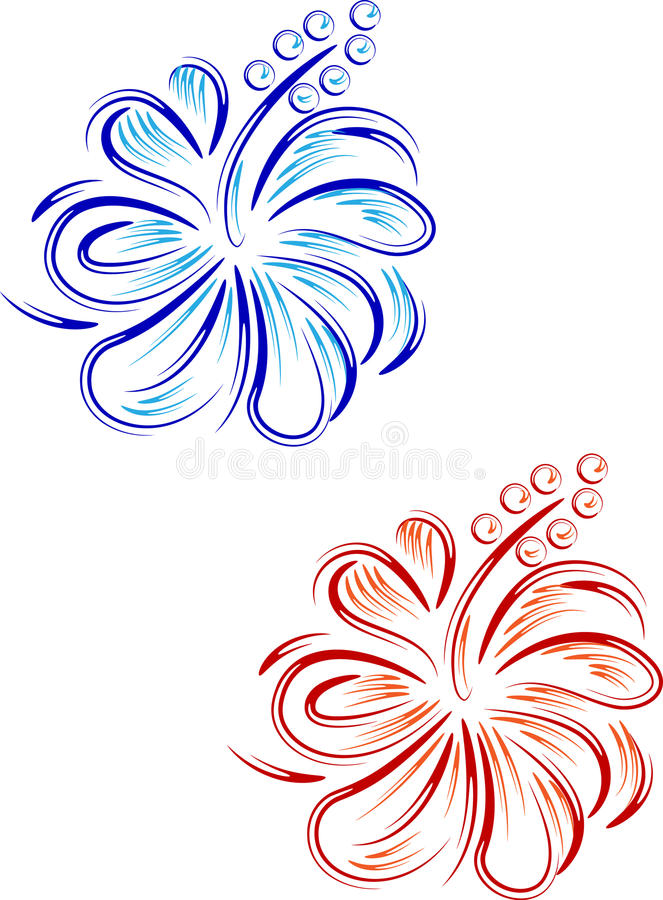 Abstract hibiscus floral design vector illustration
