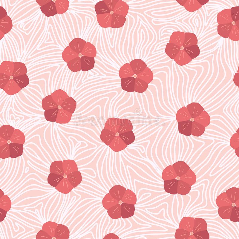 Abstract Hibiscus flower seamless repeat pattern. vector illustration stock illustration