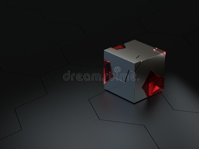 Abstract high details hexagonal technical or sci-fi honeycomb background with roughness glass and metal cubes 3d render stock illustration