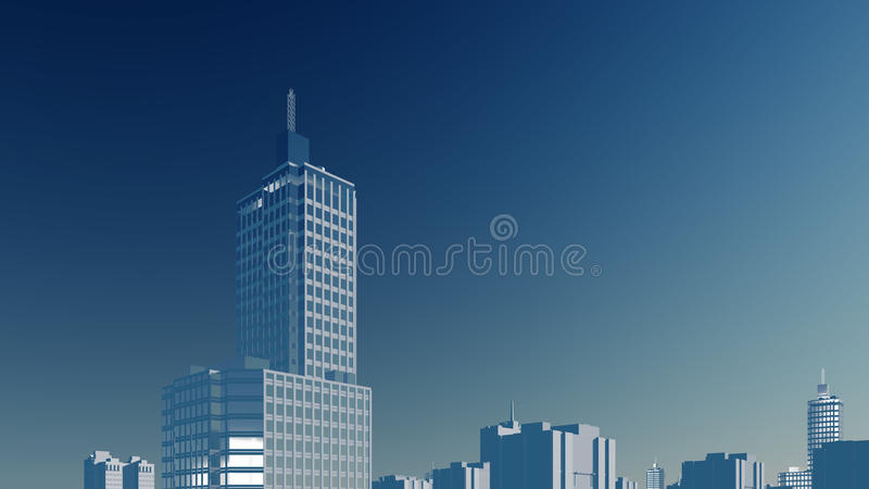 Abstract high rise building against blue sky. Abstract modern high rise building skyscraper against clear blue sky background. 3D illustration from my own 3D vector illustration