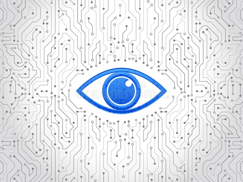 Abstract high tech circuit board. Eye cyber security concept. Network data protection background. Search and analysis of information royalty free illustration