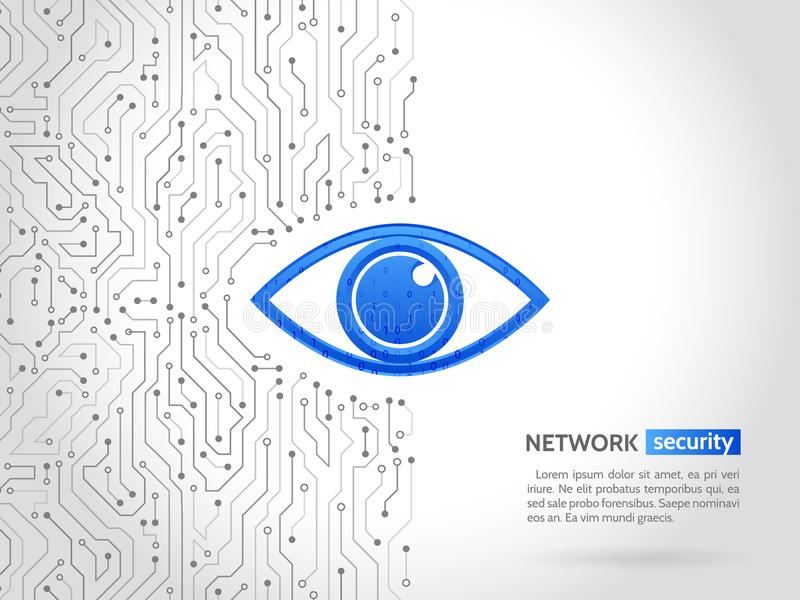 Abstract high tech circuit board. Eye cyber security concept. Network data protection background. Search and analysis of information stock illustration